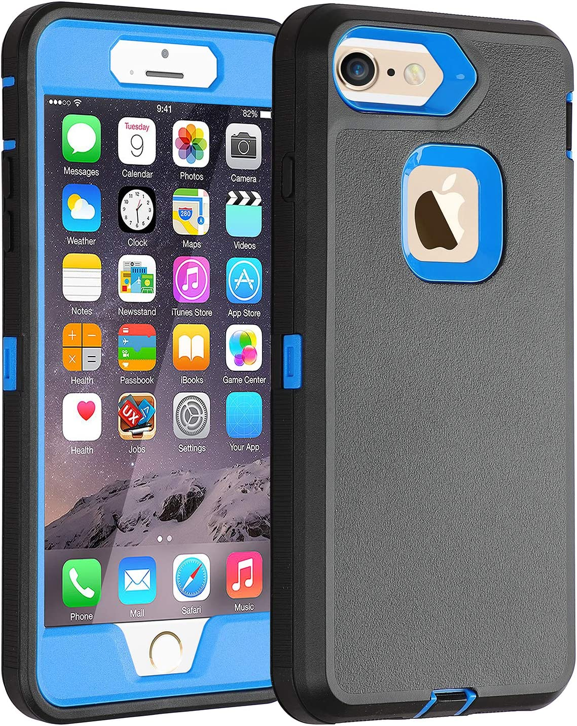 Co-Goldguard Case for iPhone 6s Plus/6 Plus Heavy Duty 3 in1 Built-in Screen Protector Cover Dust-Proof Shockproof Scratch Resistant Shell Compatible with Apple iPhone 6s+/6+,Black&Blue