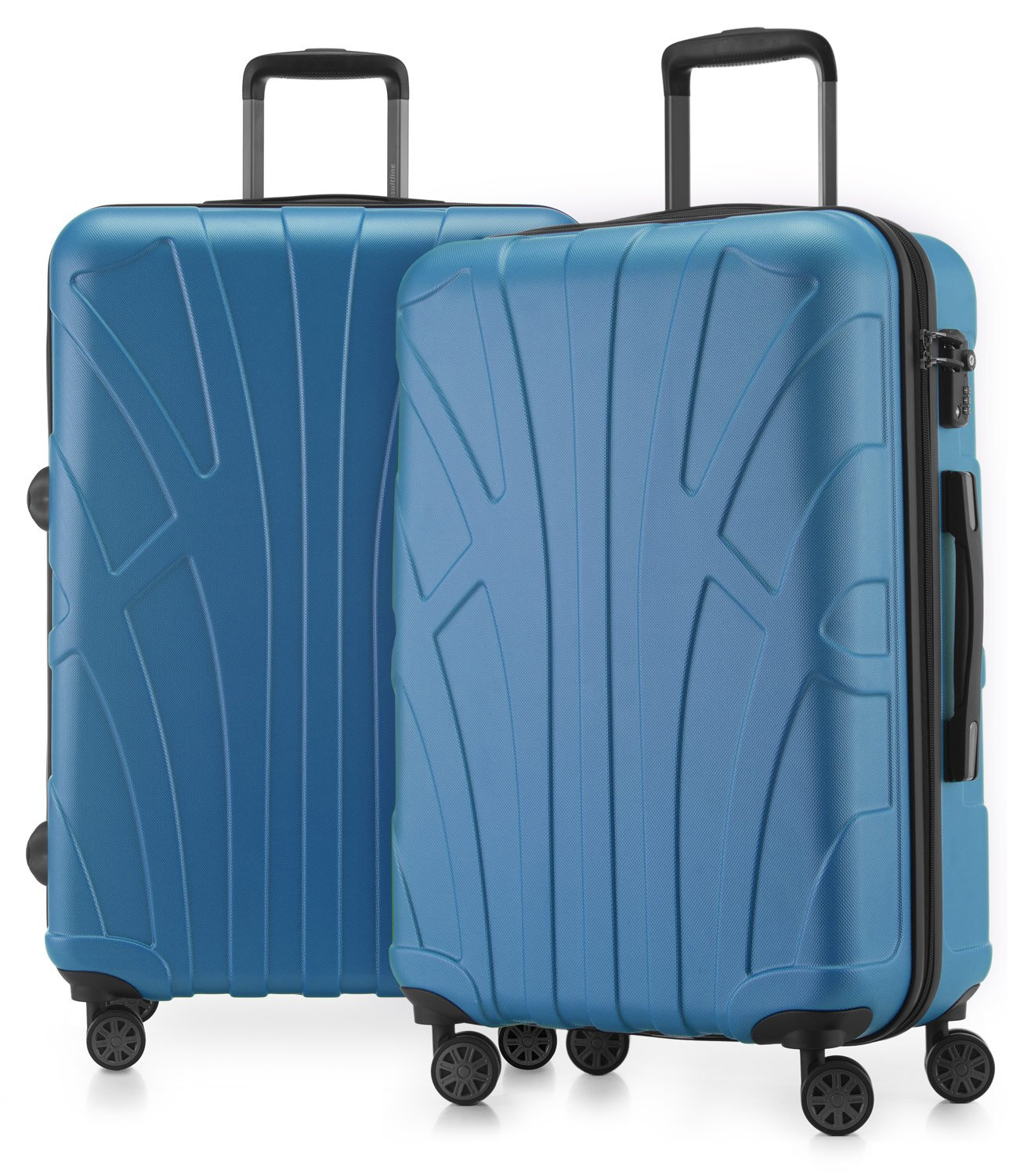Suitline - 2er Koffer-Set Trolley-Set Rollkoffer Hartschalen-Koffer Reisekoffer, TSA, 66 cm, 100% ABS, Matt, Braun Suitline 24-24