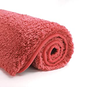 Suchtale Bathroom Rug Non Slip Bath Mats for Bathroom Water Absorbent Soft Microfiber Shaggy Bathroom Mat Machine Washable Bath Rug for Bathroom Thick Plush Rugs for Shower (16 x 24 Living Coral)
