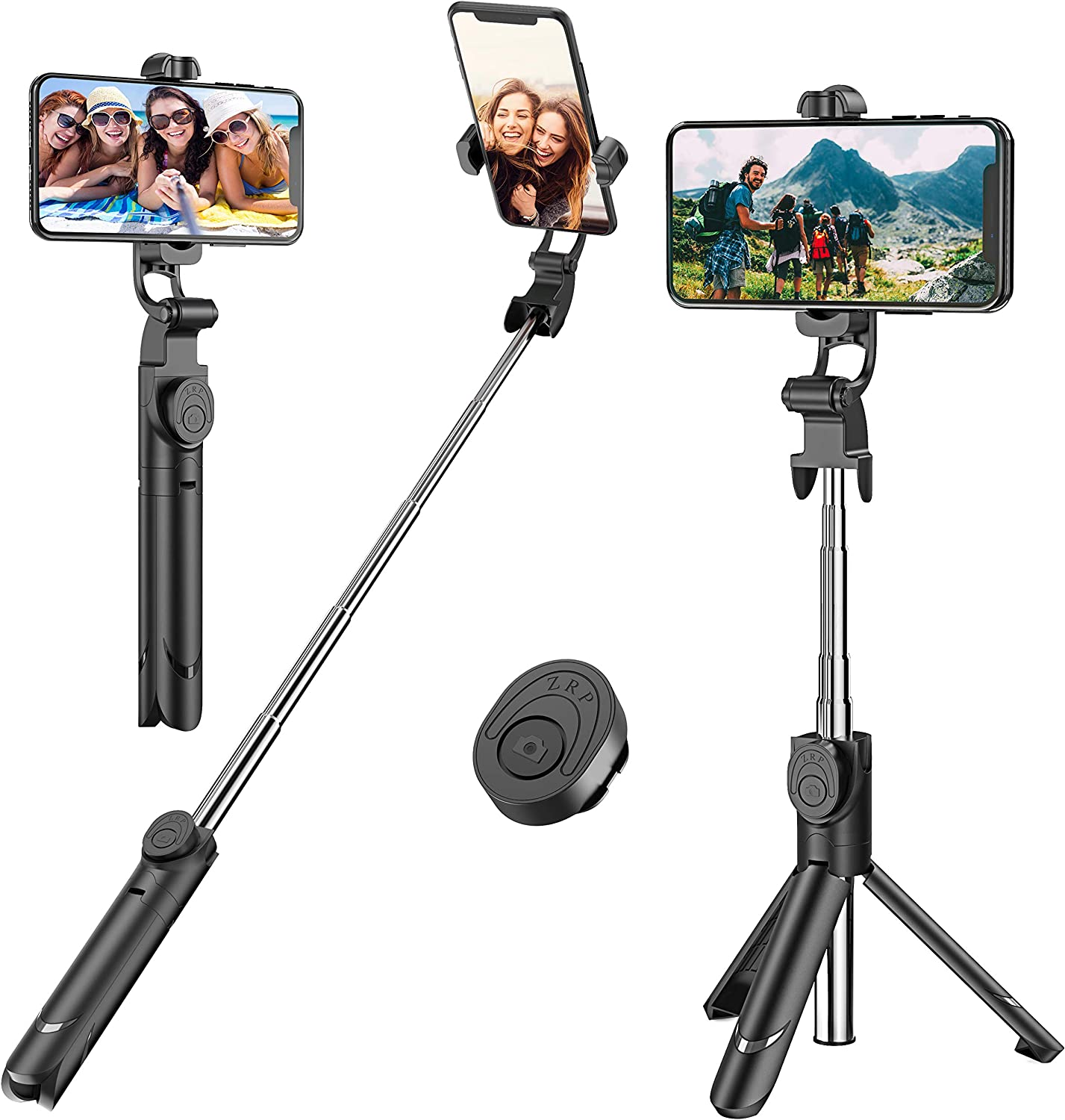 Black Selfie Stick Bluetooth Selfie Stick with Detachable Wireless Controller Multi-Function Retractable Tripod Multi-Angle Video Live Broadcasting Bracket with Fill Light Portable Rechargeable