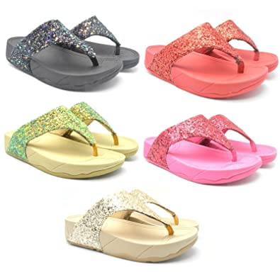 aa225aa92fb Girls Clogs Fit Flops Beach Summer Sandals Flipflops Shoes Toe Post Sequin  497B: Amazon.co.uk: Shoes & Bags