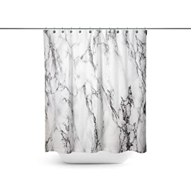 ABin Black and White d Marble Background Shower Curtains,Water-Repellent & Anti-Bacterial Waterproof Mildew-Resistant Fabric with 12 Curtain Hooks 72-Inch by 72-Inch