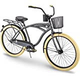 "Huffy Holbrook 26"" Men's Beach Cruiser Bike w/ Cup Holder, Handlebar Basket & Rear Rack"