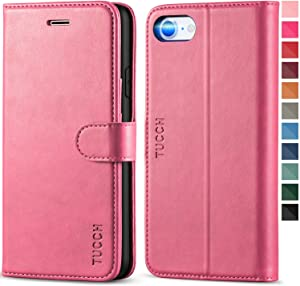 TUCCH iPhone SE 2020 Wallet Case, iPhone 8 Case, iPhone 7 PU Leather Flip Folio Case with Card Slot, Stand Holder, Magnetic [TPU Shockproof Interior Case] Compatible with iPhone 7/8/SE2, Hot Pink