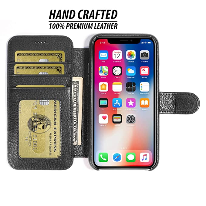 super popular 6ad36 e4a2e Burkley Case Wallet Folio Case for Apple iPhone X/iPhone Xs with Magnetic  Closure  Book Style Cover with Card Holders   Hand-Wrapped in Premium ...