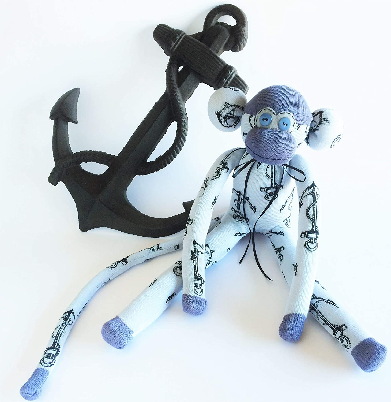 Sailor Overseas Gift Grey Sock Monkey Deployed Gift Nautical Sock Monkey Anchor Sock Monkey Sock Monkey Military Gift Navy