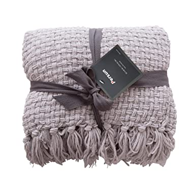 PERSUN Lightweight Throw Blanket Soft Decorative Knit Blankets Fringe Sofa Couch Home Decor, 50  x 60 , Grey