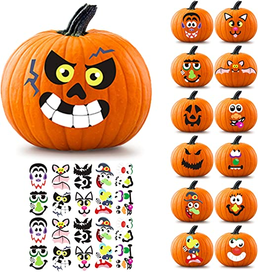 6 x 9 Jack-o-Lantern Decoration Kit Cute Halloween Decor Idea Gifts 26 Total DIY Face Stickers 12 Large Sheets and Crafts for Kids Halloween Pumpkin Decorating Stickers Treats