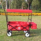 Sports God Folding Wagon Collapsible Utility Garden Cart with Removable Canopy + Storage Basket + FREE Cooler