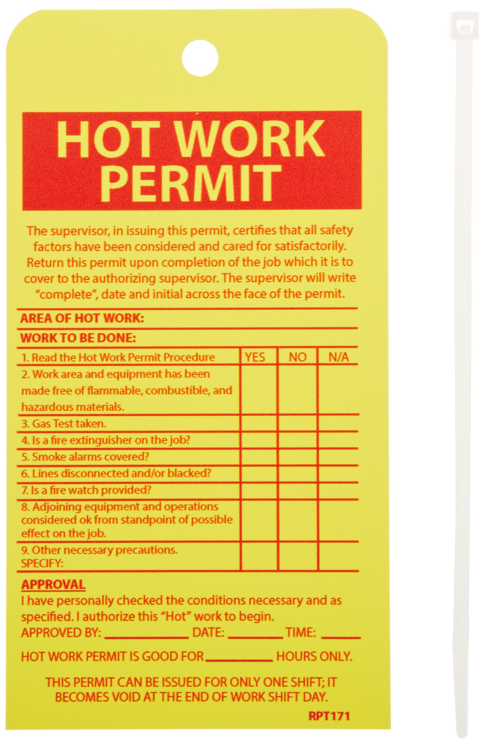 NMC RPT171''HOT WORK PERMIT'' Accident Prevention Tag, Unrippable Vinyl, 4'' Length, 7-1/2'' Height, Red on Yellow (Pack of 10) by NMC (Image #2)