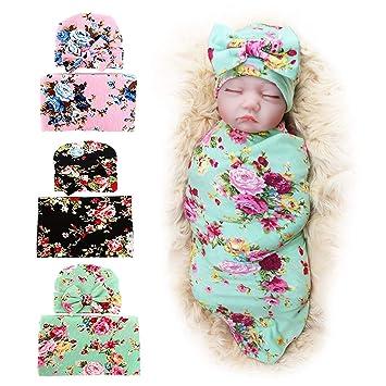 9ca5ddb36 3 Pack BQUBO Newborn Floral Receiving Blankets Newborn Baby Swaddling with  Headbands or Hats...