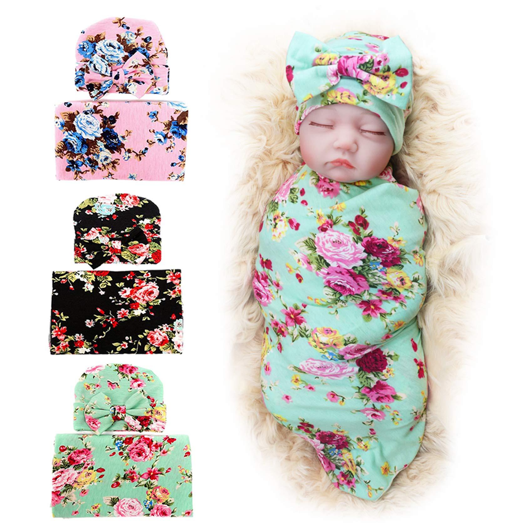 3 Pack BQUBO Newborn Floral Receiving Blankets Newborn Baby Swaddling with Headbands or Hats Sleepsack Toddler Warm