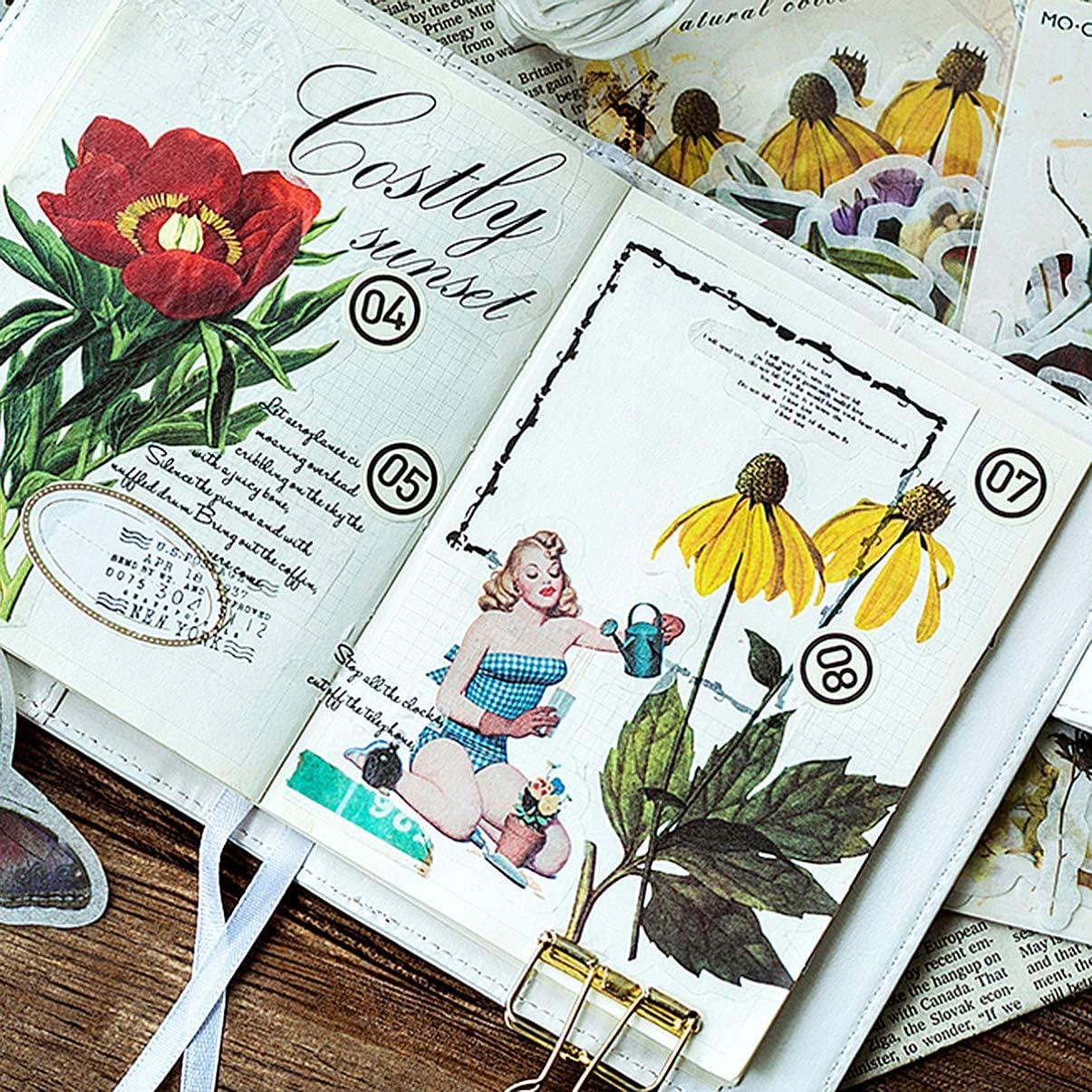 SUPVOX Pegatinas de 1 Hoja Pegatinas de Papel Floral Pegatinas de Flores Vintage Coloridas Decorativas Lindas para /álbum de /álbumes de Recortes