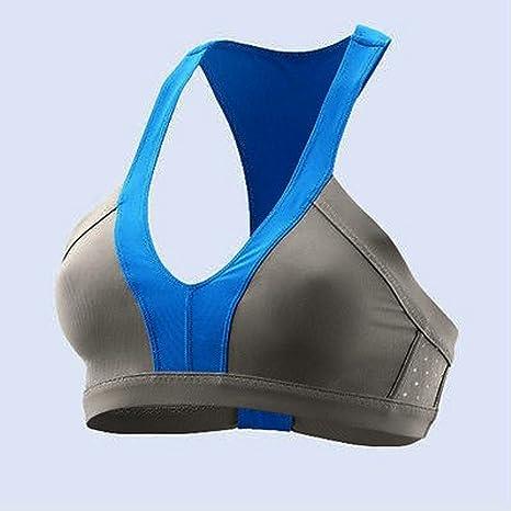 Adidas Stella Mccartney SW pref Top Gris/Azul Mujer – Sujetador Deportivo/Front Peluche