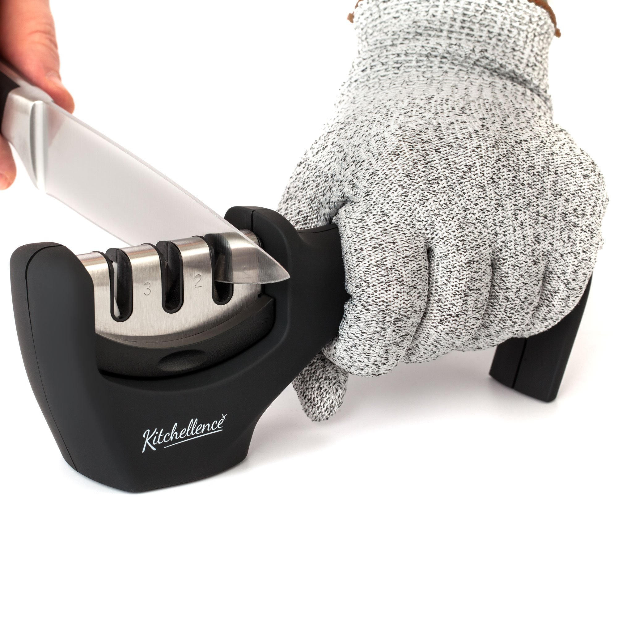 Kitchen Knife Sharpener - 3-Stage Knife Sharpening Tool Helps Repair, Restore and Polish Blades - Cut-Resistant Glove Included