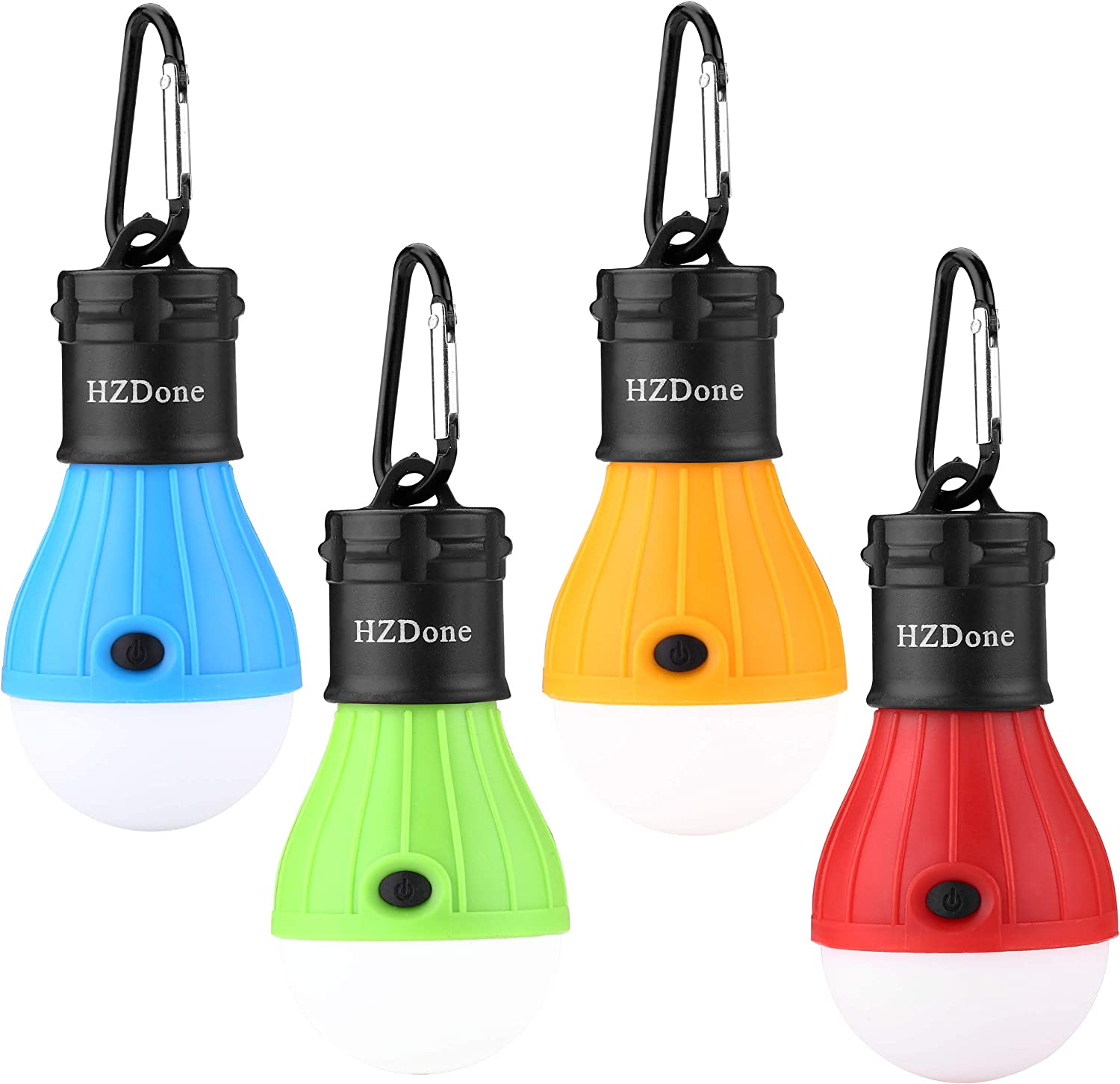 HZDone LED Camping Lantern 4 Pack Portable Outdoor Tent Light Bulb for Camping Hiking Fishing Hurricane Storm Outage-Battery Powered Emergency Light Red Blue Yellow Green Color Options