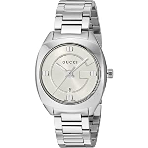 Gucci Swiss Quartz Stainless Steel Dress Silver-Toned Womens Watch(Model: YA142502)