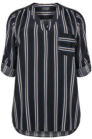 Plus Size Womens Stripe V-neck Blouse With Roll Up Sleeves & Pocket Detail Size 18 Black