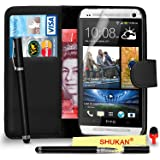 HTC One M7 Premium Leather Black Wallet Flip Case Cover Pouch + 2 IN 1 Ball Pen Touch Stylus Pen + RED 2 IN 1 Dust Stopper + Screen Protector & Polishing Cloth SVL6 BY SHUKAN®, (WALLET BLACK)