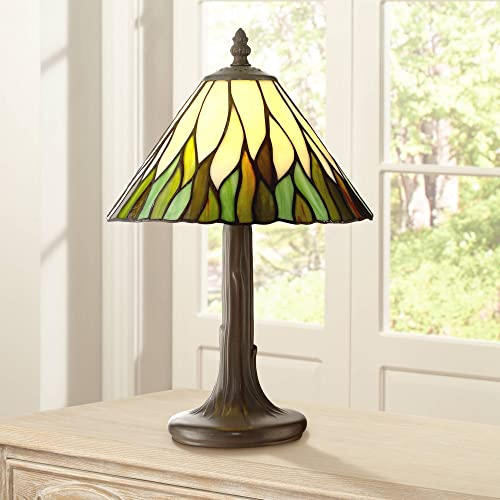 Foglia Cottage Antique Accent Table Lamp 14 1/2″ High Brown Tree Stained Glass Shade