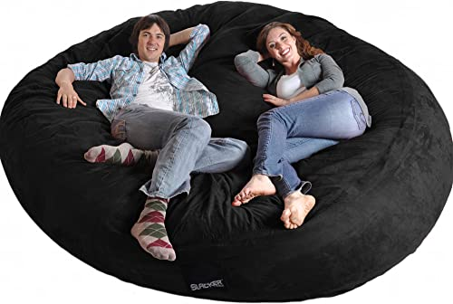 SLACKER'sack 8 Round Black Biggest Foam Bean Bag Microfiber Cover like LoveSac XXL