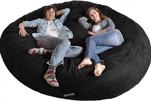 SLACKER sack 8 Round Black Biggest Foam Bean Bag Microfiber Cover like LoveSac XXL