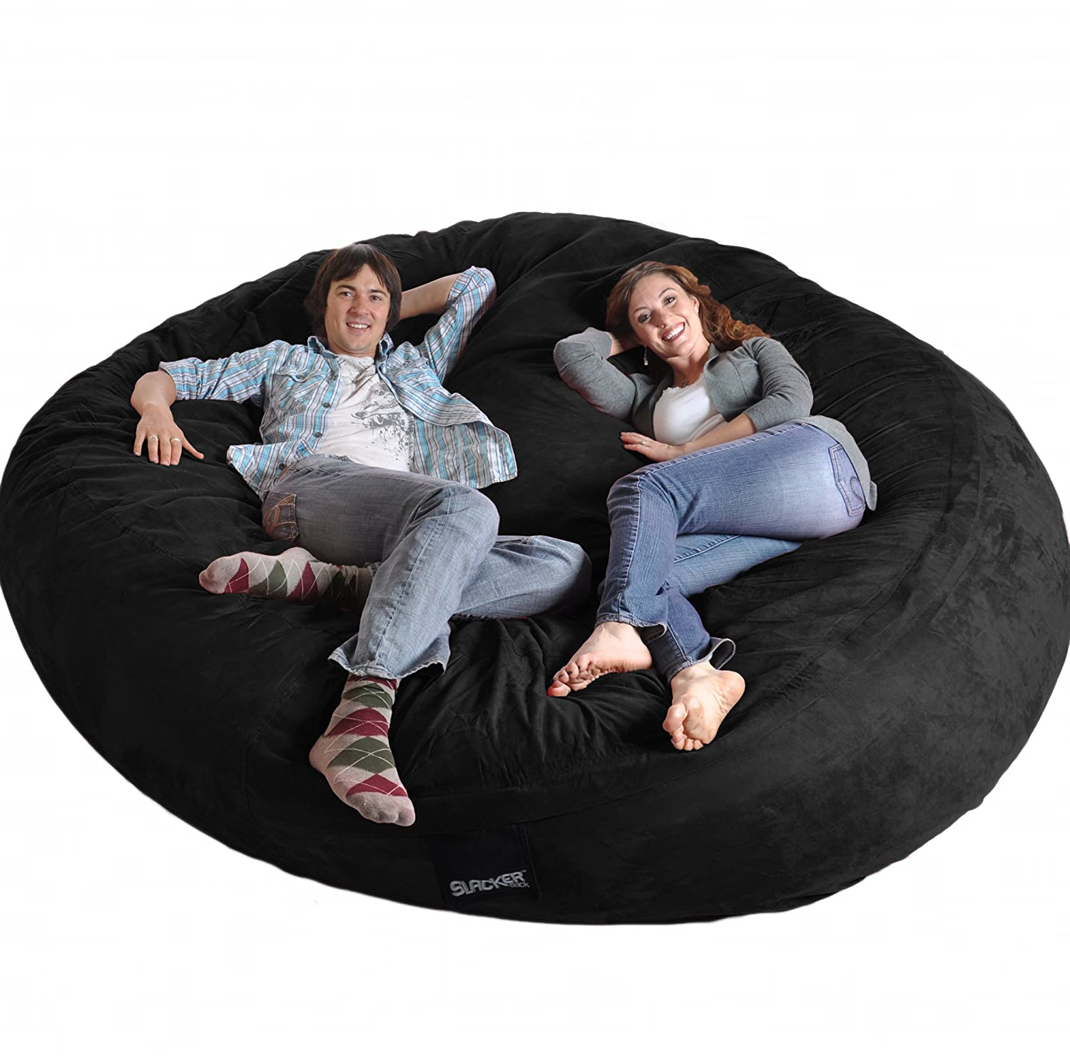 Amazon 8 Round Black SLACKER sack Biggest Foam Bean Bag