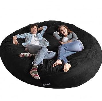 8 Round Black SLACKER Sack Biggest Foam Bean Bag Microfiber Cover Like LoveSac XXL