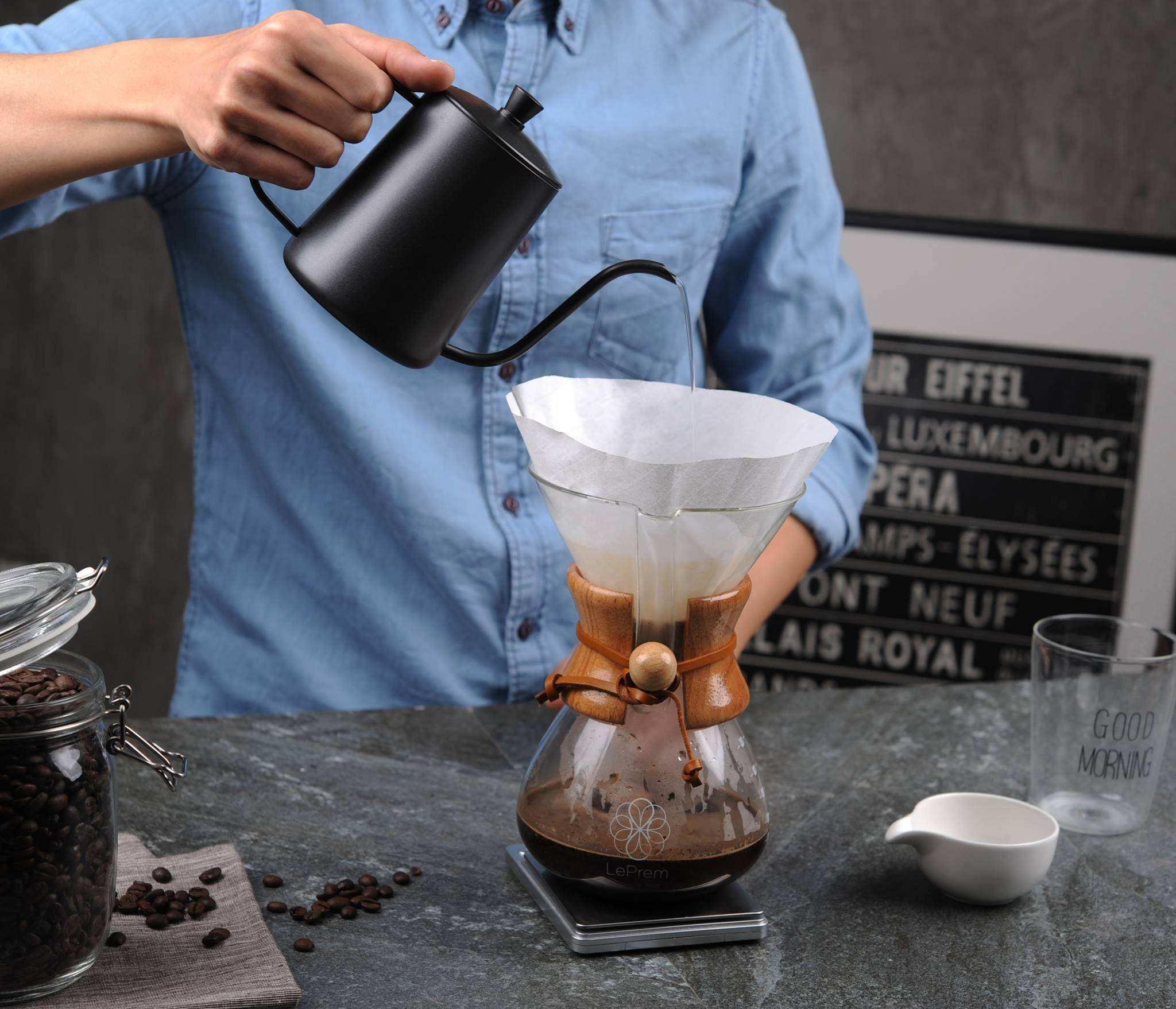 Pour Over Coffee Maker | Classic Hand Drip Brewer for Paper Filter | Hand Crafted Strong Borosilicate Glass with Lid, Easy Clean and Better Coffee