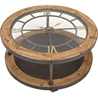 Benzara 44383 Antique Colonial Classic Metal Wood Clock Coffee Table