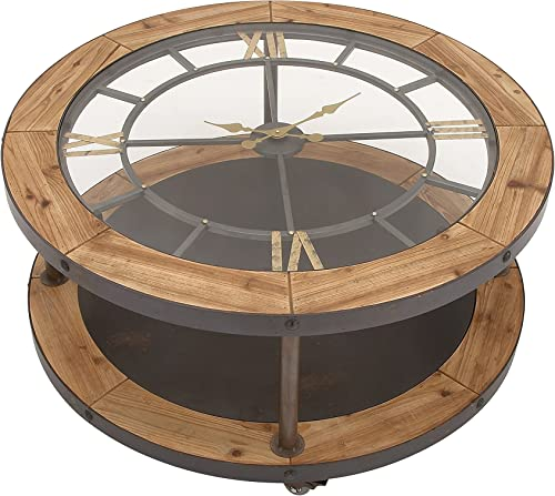 Benzara Antique Colonial Classic Metal Wood Clock Coffee Table