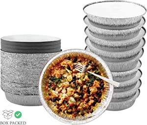 55 Pack - 7 Inch Round Aluminum Pans, with Cardboard Lids. Round Tins for Baking and Food Transport. Round Foil Pans. Tins Perfect for Quiche, Nachos, Pie and Pastries by Spare Essentials