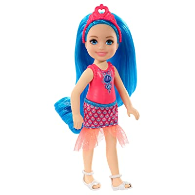 Barbie Dreamtopia Chelsea Sprite Doll, 7-inch, with Blue Hair Wearing Fashion and Accessories, Multi (GJJ94): Toys & Games