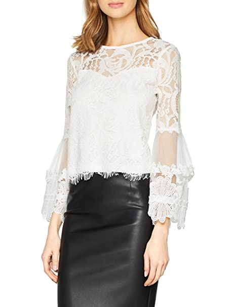 Girls on Film Clothing White Floral Top, Blusa para Mujer: Amazon.es: Ropa y accesorios