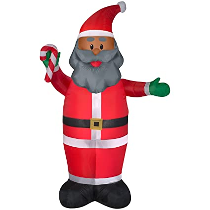 black santa inflatable 7 feet tall african american santa claus indoor outdoor inflated christmas decorations - Christmas Outdoor Inflatables