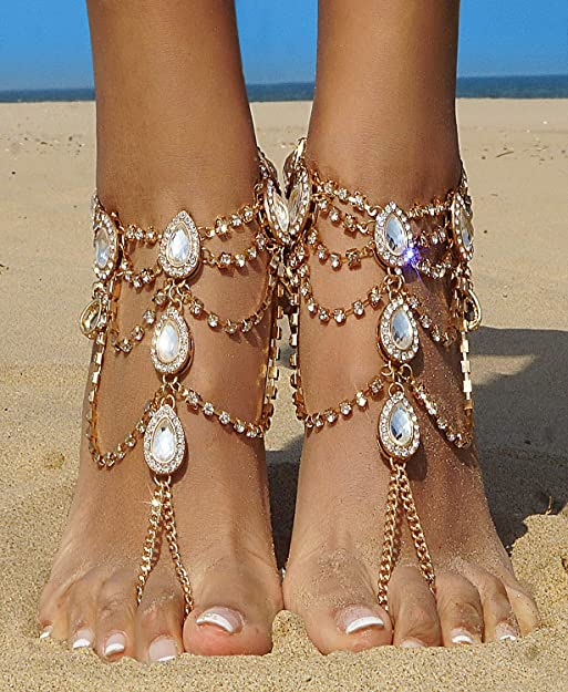 Details about  /Women Barefoot Sandal Anklet Crystal Tassel Ankle Bracelet Foot Chain Jewelry MP