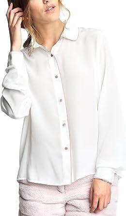 Caramelo, Camisa con Vivos A Contraste, Mujer · Crudo, Talla XXS: Amazon.es: Ropa y accesorios