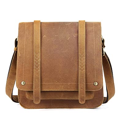 a981f9a764 S-ZONE Vintage Genuine Crazy Horse Leather Flapover Crossbody Bag for Women(Light  Brown