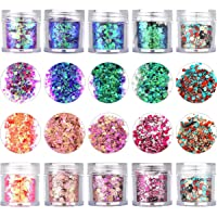 Onwon 10 Boxes Chunky Glitter Makeup Set. Colorful Mixed Cosmetic Glitters Flakes for Eye Shadow Body Nail Face Lips…