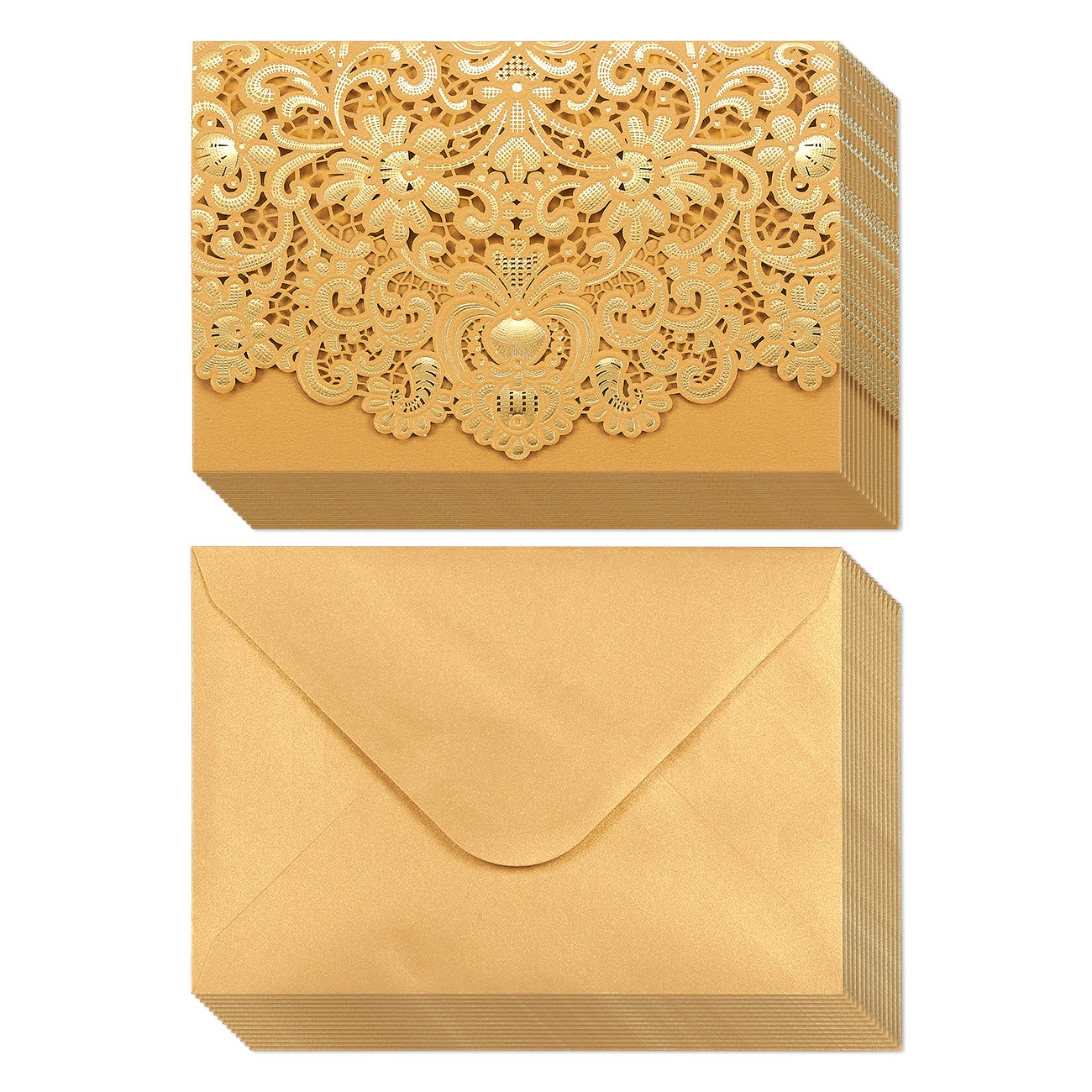 24-Pack Wedding Invitation Cards - Laser Cut Gold Foil and Floral Design Invitation Pockets for Bridal Showers, Engagement Parties, Includes Covers, Blank Inserts, Envelopes, 5 x 7.25 Inches by Best Paper Greetings