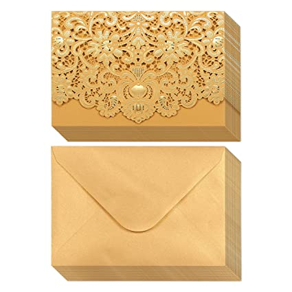 Amazoncom 24Pack Wedding Invitation Cards Laser Cut Gold Foil