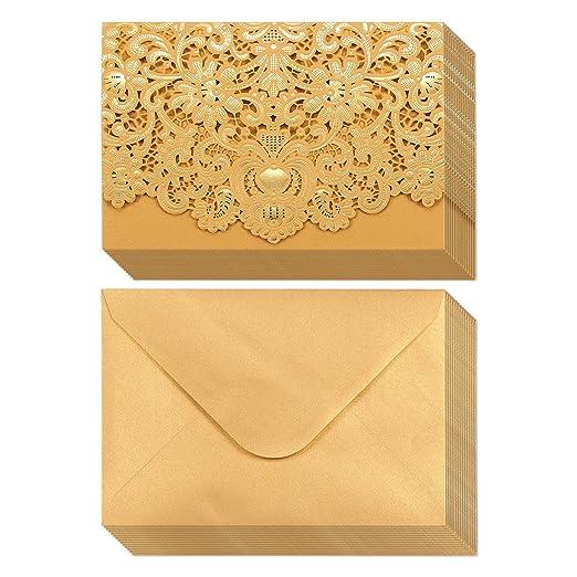 Pack de 24tarjetas de invitación de boda–Corte por láser lámina de oro y diseño floral–Incluye Fundas Insertos en blanco Sobres 12 7x 18 4cm