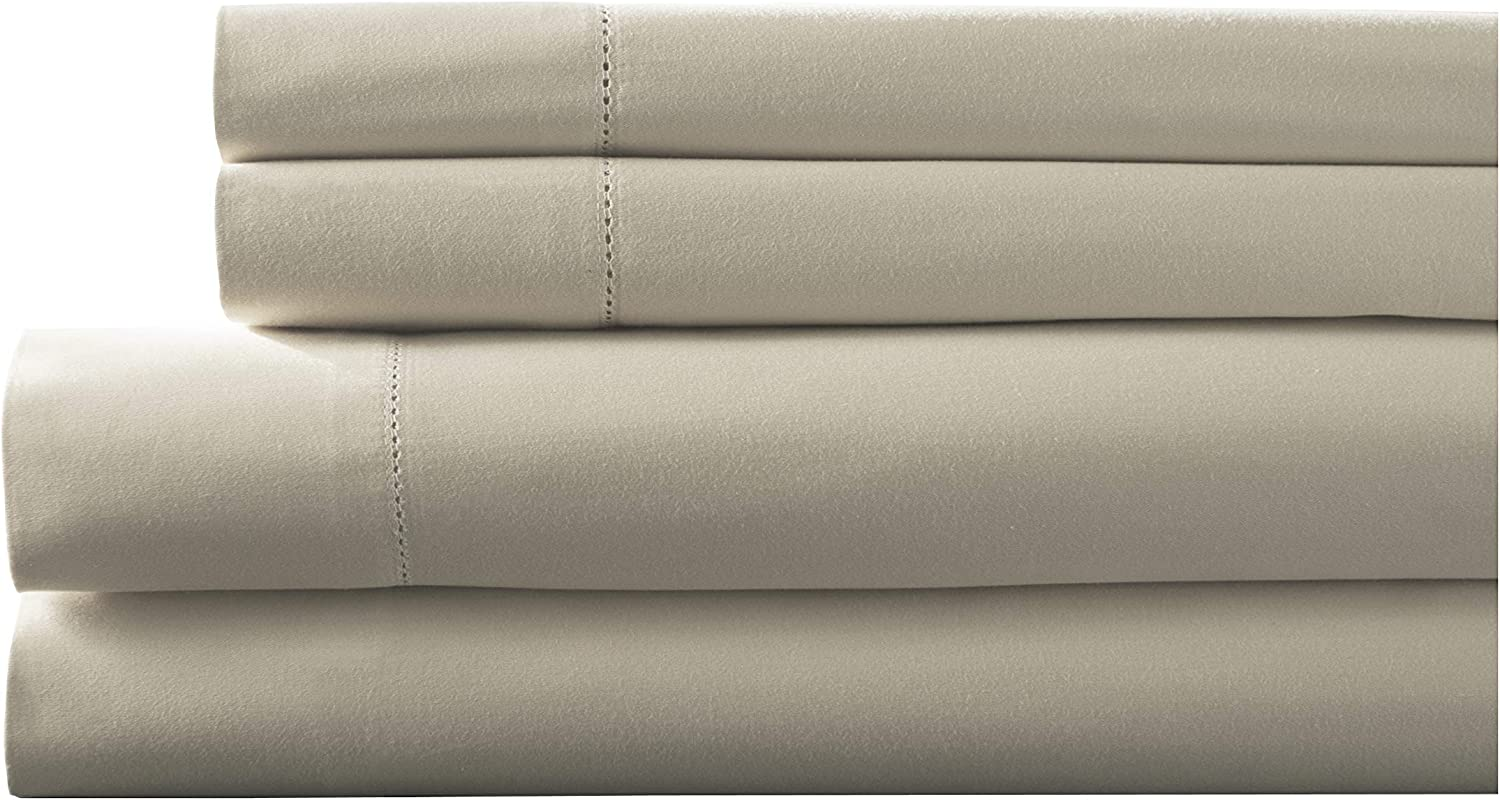Elite Home Products Inc. Hemstitch 400 Thread Count Cotton Sateen Weave Solid Color Sheet Set Ivory, Split King