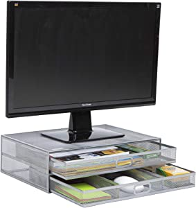 Mind Reader 2TDMESHY-SIL Metal Monitor Stand Riser, Desk Organizer, Holds PC, Laptop, Notebook, Printer, Silver 2 Drawer