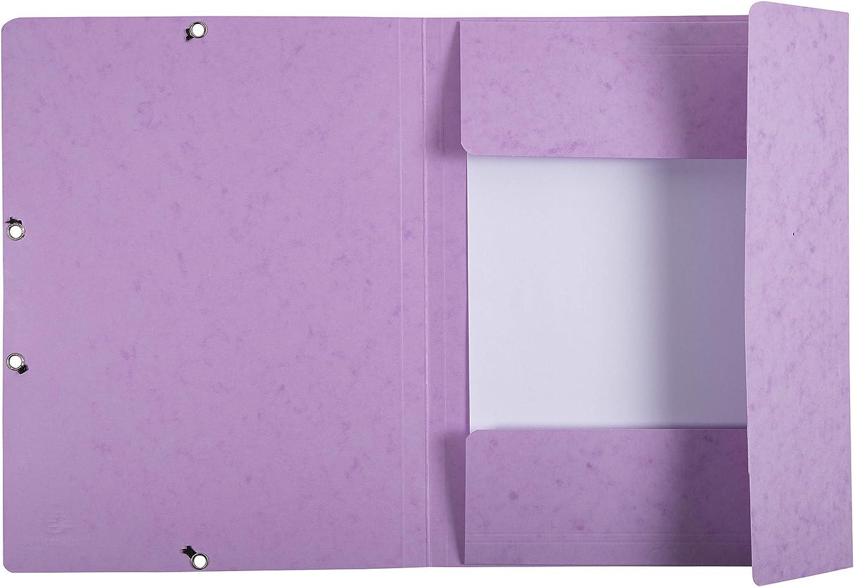 Exacompta 55535E Aquarel 3 solapas en cartulina satinada, 400 g//m2 Carpeta con gomas el/ásticas color morado