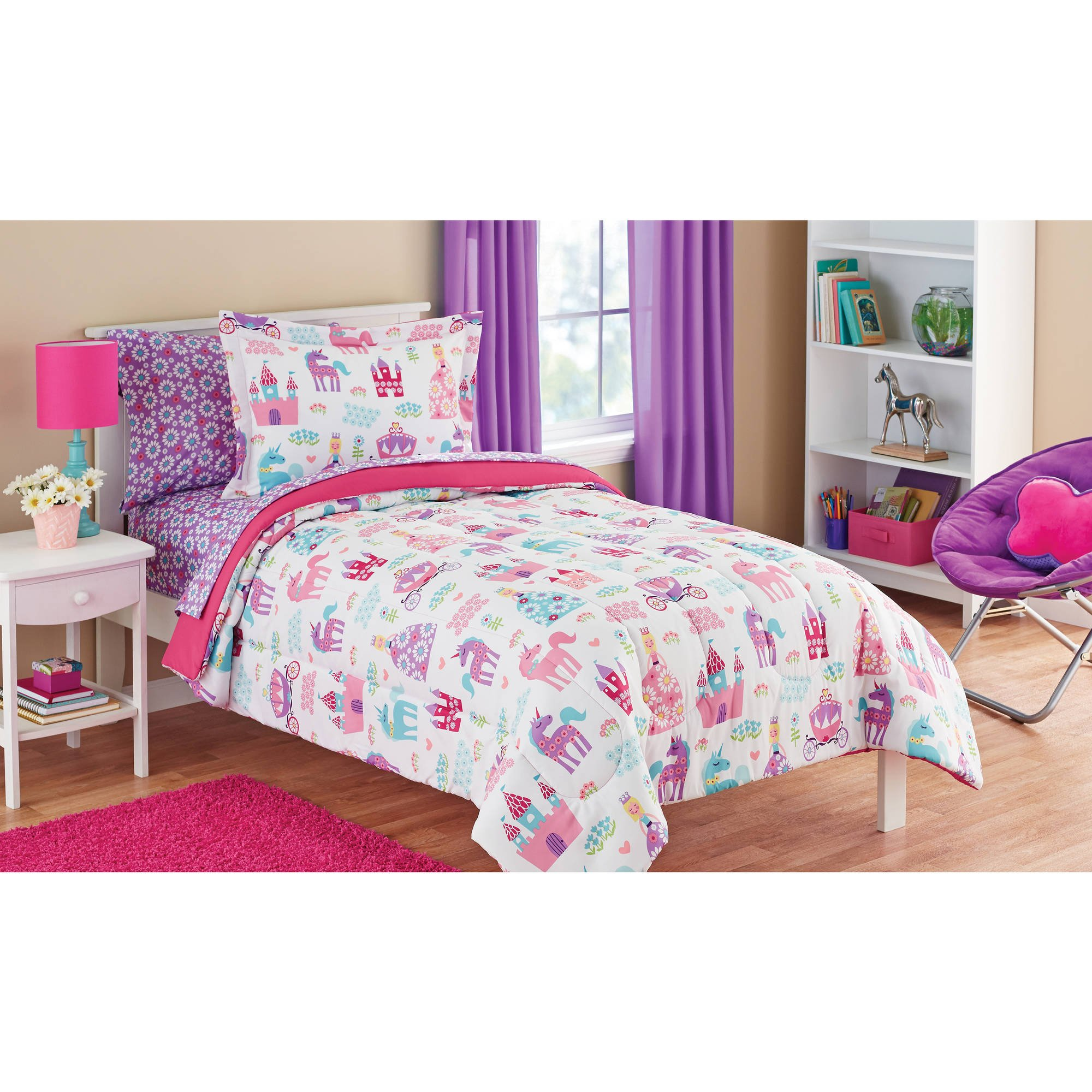 Mainstays Kids Pretty Princess, Floral, Castle, Unicorns and Hearts Reversible Bedding Twin Comforter for Girls (5 Piece in a Bag)