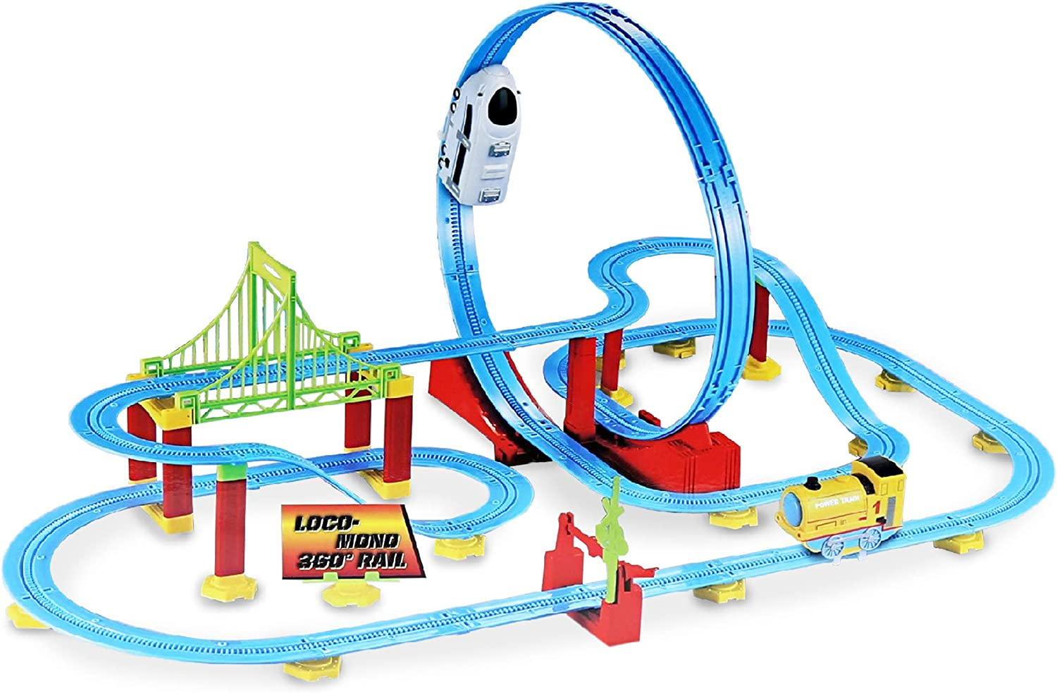 Mozlly White Locomotive 360° Bullet Rail Train Playset, High Speed Roller Coaster Battery Operated Mini Shuttle Machine Detachable Loop Race Track Building Structure Themed Toys & Games (82 Pcs Set)