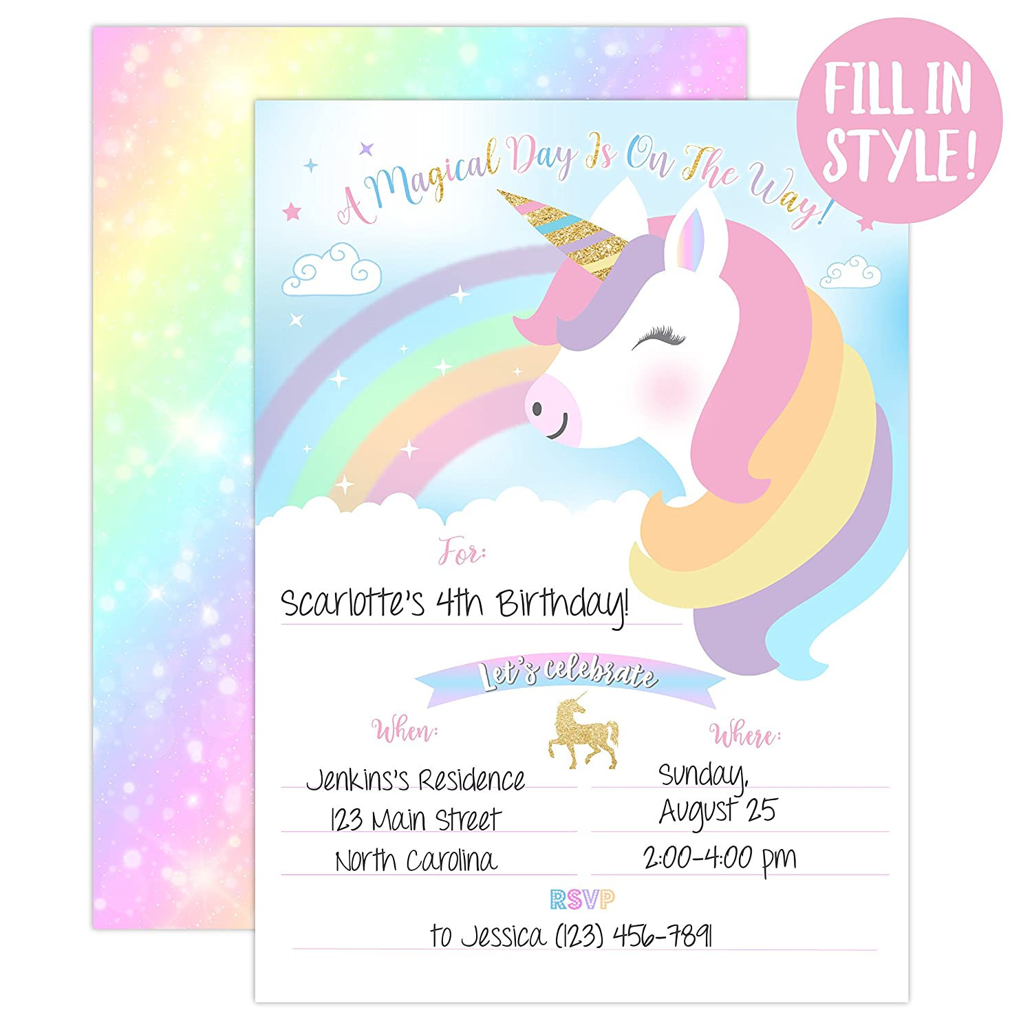 Amazon YME Unicorn Birthday Invitation Rainbow Party Invite 20 Fill In Style With Envelopes Toys Games