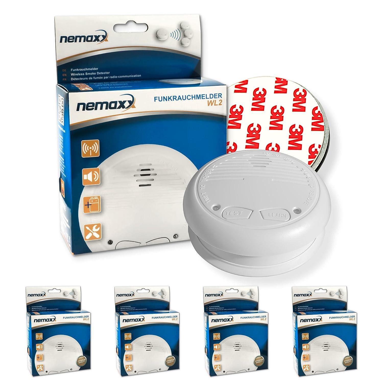 4X Nemaxx WL2 Detectores de Humo inalámbrico, Detectores de Incendios inalámbrico conectable en Red - Conforme la Norma EN 14604 + 4X Nemaxx NX1 Imán de ...