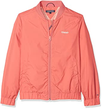 Tommy Hilfiger S Sunny Bomber Jacket, Blouson Fille, (Spiced Coral 608), 98 (Taille Fabricant: 3)